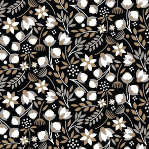 Modern Cotton Boll Floral Black Tan