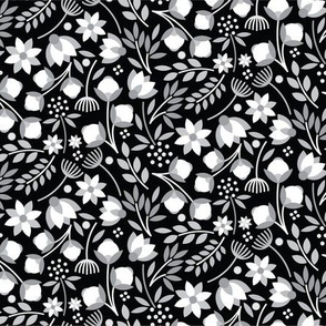 Modern Cotton Boll Floral Black And White