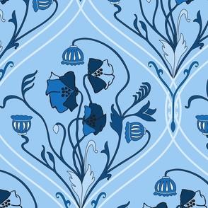 Art Nouveau Poppies - Classic Blue