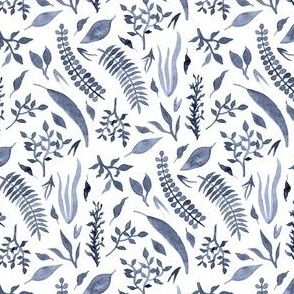 Navy Watercolor Leaves on White