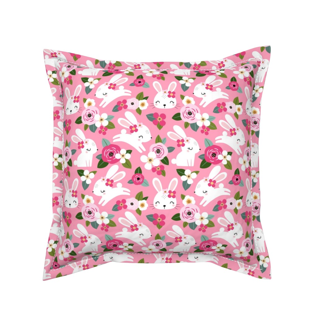 Serama Throw Pillow featuring  floral bunny - pink by mirabelleprint