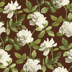Vintage Pale Cream Roses on Brown - large