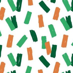 St Patrick's Day confetti celebrations minimal raw brush strokes green party orange mint white