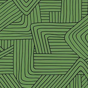 Little Maze stripes St Patrick's Day minimal Scandinavian grid style trend abstract geometric print monochrome army green