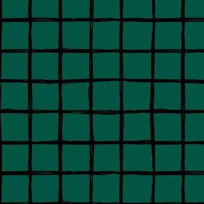 Minimal Dark green night grid geometric maze St Patrick's Day forest green
