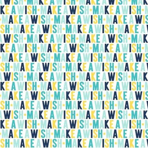 make a wish XSM navy + teal + yellow UPPERcase