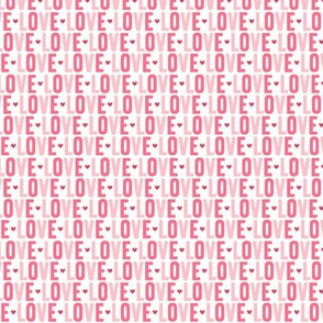 love XSM pink + red UPPERcase