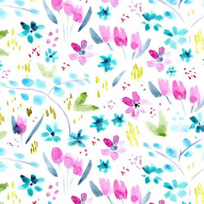 Whimsical meadow in pink and blue ★ watercolor florals for modern nursery, baby girl