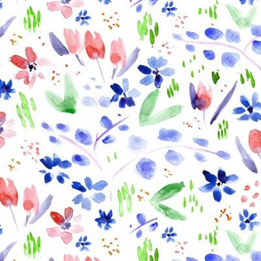 Magic meadow in blue and red ★ watercolor florals for modern home decor, bedding, nursery