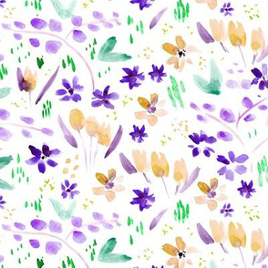 Whimsical meadow in purple and mustard ★