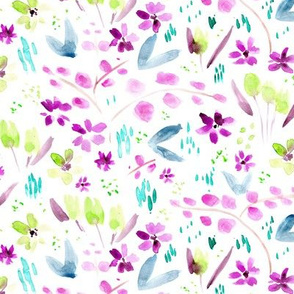 Magic meadow in violet and green ★ watercolor painted florals for modern home decor, bedding, nursery