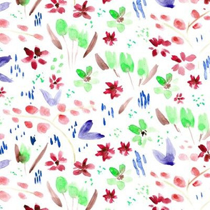 Watercolor wildflowers in red, blue and emerald - painted florals