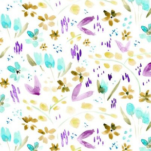 Mustard and aqua watercolor meadow - painted florals - wildflowers