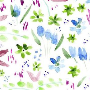 Watercolor magic meadow for modern home decor, bedding, nursery
