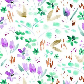 Amethyst and emerald meadow flowers ★ watercolor wild florals for modern home decor, bedding, nursery
