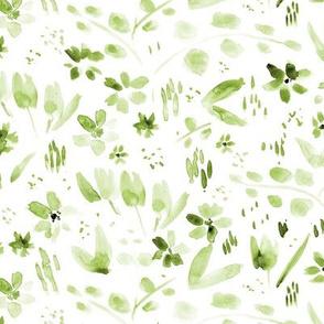 Watercolor wildflowers - tonal green meadow - monochrome florals