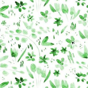 Jade green meadow - watercolor wild flowers p256