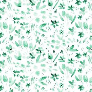 Emerald watercolor meadow - painted wildflowers  p256-19-7