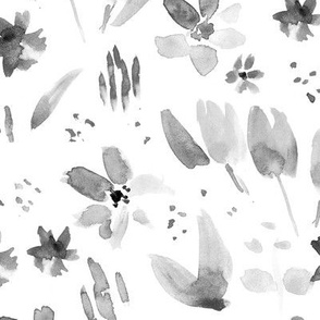 Noir magic meadow ★ watercolor flowers in shades of grey for minimal modern home decor, bedding, nursery