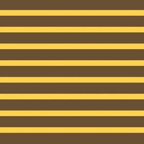 Retro Breton Stripe - Gold and Brown