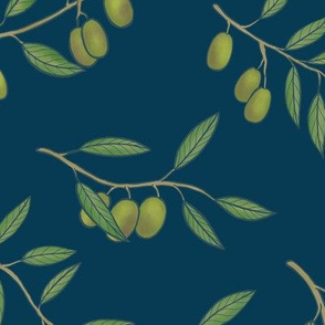 Tuscan Olive Chintz on Deep Blue - Large