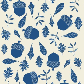 leaves and acorns in classic blue on natural