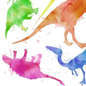 Dinos- Watercolor White 4""