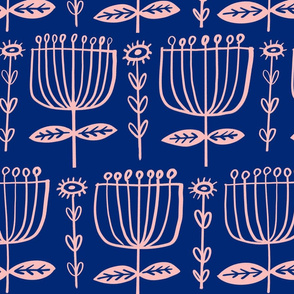 Big Hand Drawn Tulips on Classic Blue