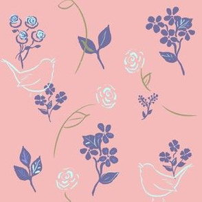 Roses And Wrens - Pink