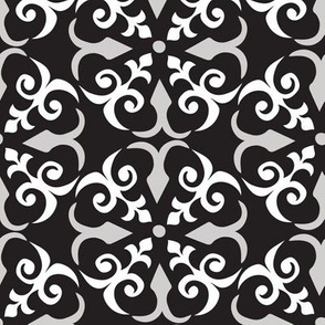 Shaker Lattice: White & gray  on black - medium scale
