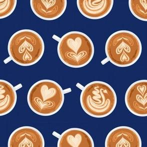 Coffee Art on navy