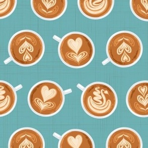 Coffee Art on teal (Large scale)