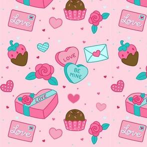 valentines on pink