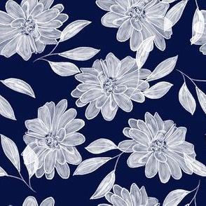 White & Blue Floral