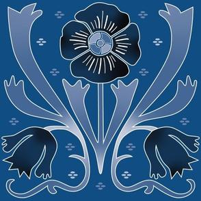 art nouveau flowers classic blue