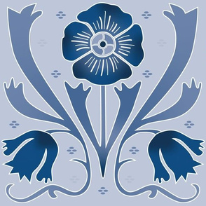 art nouveau flowers light blue