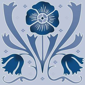 art nouveau flowers light blue   large jumbo scale