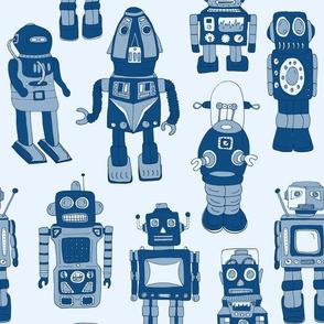 Hand drawn Vintage Robots Classic Blue - Medium scale