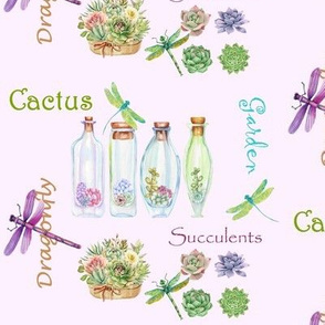 Succulents Dragonfly Watercolor