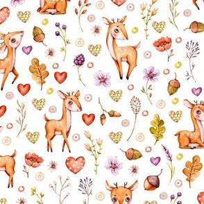 Watercolor cute Woodland nursery Baby deer