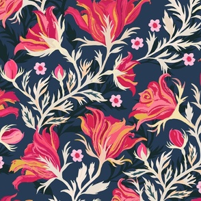 Indian Chintz Dark Blue Medium