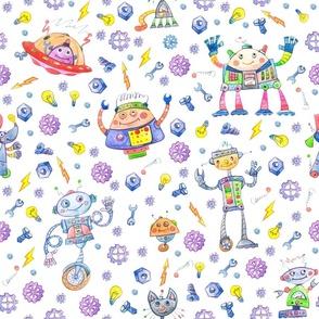 Watercolor cute nursery baby Robots Party