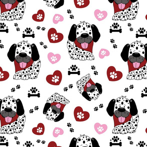 Dalmatian Dogs, Hearts, and Paw Prints