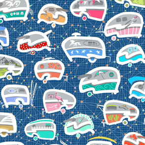 Vintage Kitschy Chick Campers | Multi / Classic Blue