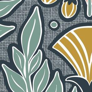 La Floraison Midnight Art Nouveau Floral Jumbo Scale