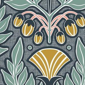 La Floraison Midnight Art Nouveau Floral Large Scale