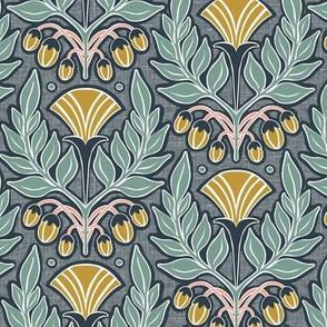 La Floraison Midnight Art Nouveau Floral Regular Scale