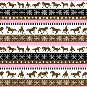 Brown and Pink Horse Pattern
