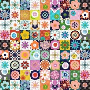 Les Fleurs* || flowers floral retro vintage pansy daisy collage hand drawn midcentury 70s 60s cheater quilt