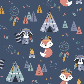 Colors of the wind - woodland fox raccoon - navy BIG